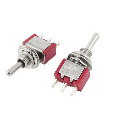2 Pcs SPDT ON/Off/ON 6mm Thread Toggle Switch 2 Way Return 3 Position