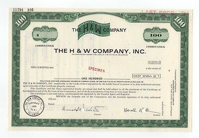SPECIMEN - The H & W Company, Inc. Stock Certificate