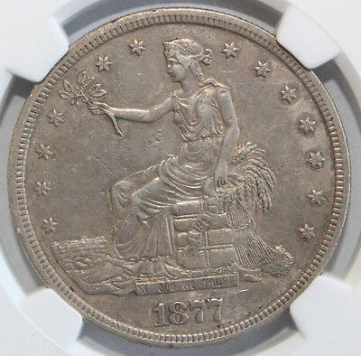 "1877 S T$1 ""Trade Dollar"" Ngc Au Details Stained Free Shipping Usa 3832253-001"