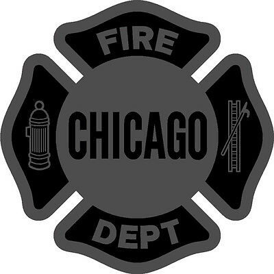 """Chicago Fire Department Decal Maltese Black Night Reflective 4"""""""