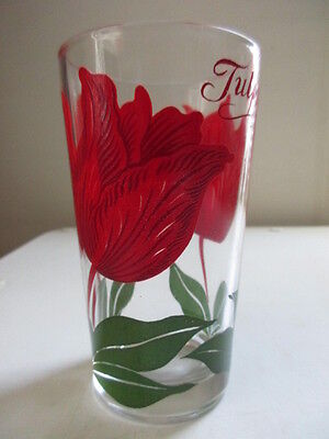 Vintage Peanut Butter Glasses - Swanky Swigs - Flowers - Tulips