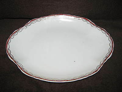 """W S George China Radisson 14"""" Oval Serving Platter Red Trim w/ Gold Chain"""