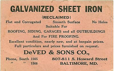 1930's DeVed & Sons Co. Baltimore,MD Galvanized Sheet Iron Postal Card