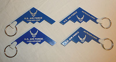 Lot of 4 - Blue Air Force Recruitment Key Chains Stealth Bomber Design Keychain