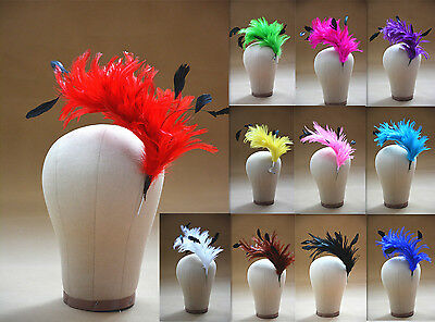 Hackle Coque Striped Feather Tree Pom Mount Floral Trim Hat Millinery B061