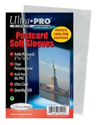 "Ultra Pro 3-11/16"" X 5-3/4"" Postcard photo card Sleeves NEW 100 count per pack"