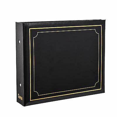 Deluxe Black 6x4 Padded Cover 2-Ring Slip In Photo Album For 200 Photos AL-9167