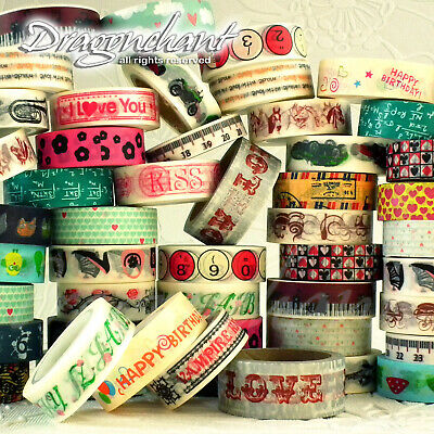 Paper Washi Masking Tape Adhesive Roll Decorative Card Craft Trim NOVELTY Set