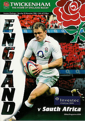 England v South Africa 25 Nov 2006 Twickenham RUGBY PROGRAMME