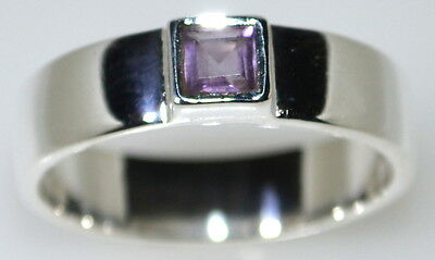 Mens 4mm Sterling Silver Band, Amethyst 925 Gents Rings, Sizes N, 6½ to Z+2,13½