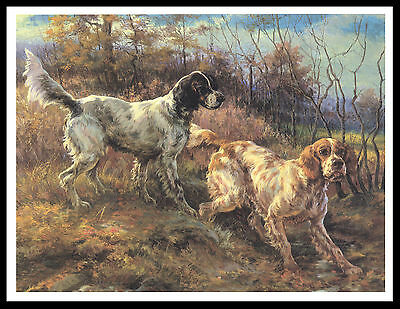 English Setter Two Dogs At Work Lovely Vintage Style Dog Print Poster