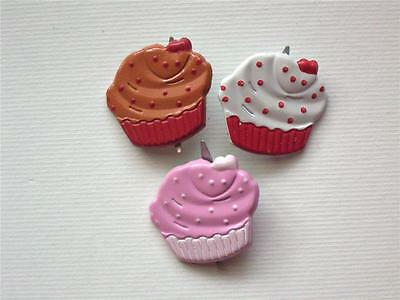 BRADS CUPCAKES pk of 6 food cake party cupcake scrapbooking craft split pin