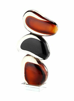 "New 11"" Hand Blown Art Glass Fused Stone Sculpture Figurine Statue Black Amber"
