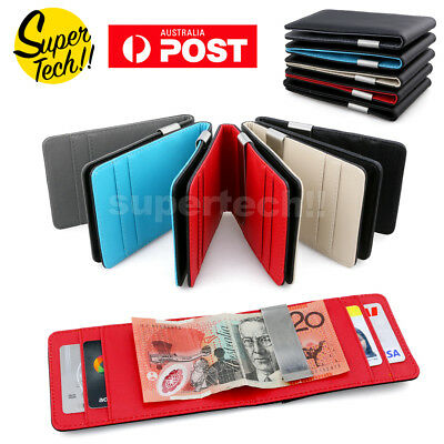 Mens Leather Wallet Money Cash Clip Credit Card Holder Slim Wallets Fathers Day