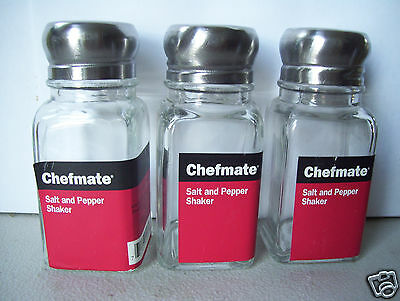 """Chefmate Stainless Steel Lids Salt & Pepper Shakers Set Of 3 Target  3.5"""" Tall"""