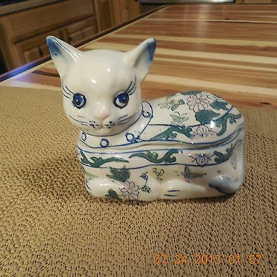 VINTAGE Ceramic Cat Trinket Box
