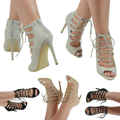 Ladies Lace Up High Heel Peep Toe Womens Gladiator Tie Up Ankle Sandals Shoes