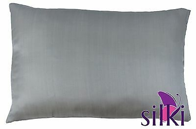 GREY 100% PURE MULBERRY SILK PILLOWCASE COVER Charmeuse 19 momme Queen Standard