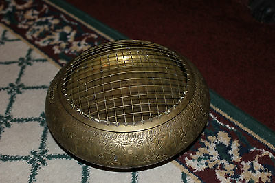 Antique India Middle Eastern Brass Rose Bowl With Screen Lid-Flower Holder