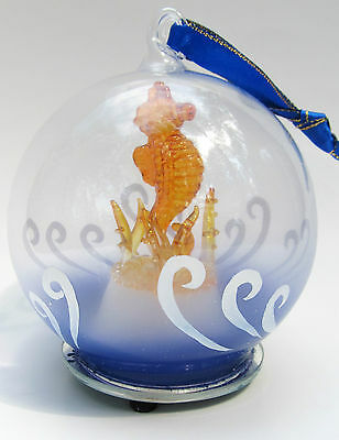 Sea Horse Blown Glass Ornament Figurine Light-up Holiday Decor