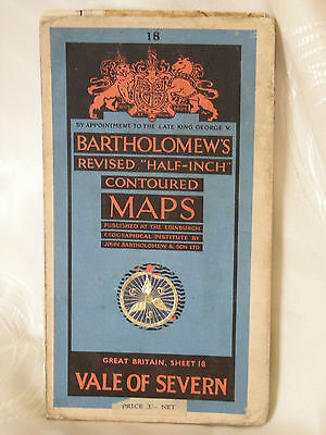 Bartholomew's 1953 Half Inch Contoured Cloth Map Sheet 18 Vale Of Severn