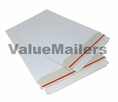 """300 - 9"""" x 11.25"""" Self Seal White Photo Stay Flats Cardboard Envelope Mailers"""