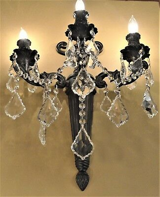 """Versailles 3 Light Flemish Brass Crystal Torch Wall Sconce Light 15""""Wx18""""H Large"""