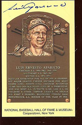 Yellow Hall of Fame Plaque Luis Aparicio Autographed Hologram
