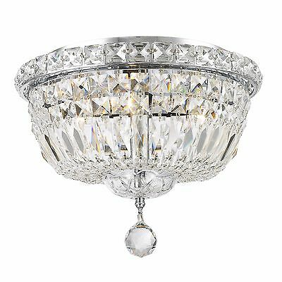 """SALE USA BRAND French Empire 4 Light Crystal Flush Mount Ceiling Light 12"""" Round"""