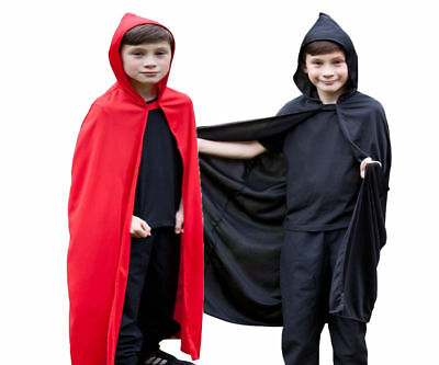 Kids Hooded Cape Black Red Vampire Devil Halloween Fancy Dress Boys Girls