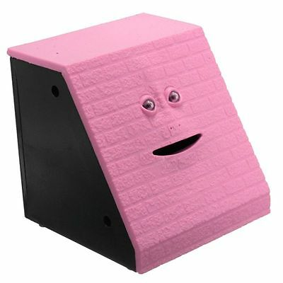 Pink Brick Face Piggy Bank Saving Sensor Coin Eating Money Box HOT Gift