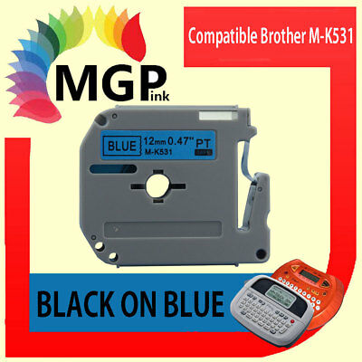 1x Compatible P-Touch MK Tape for Brother M-K531 Black on Blue PT-55 PT-65