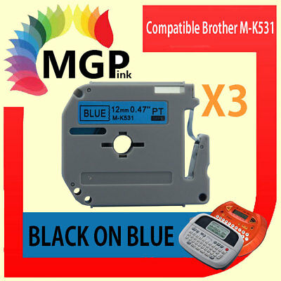3x Compatible P-Touch MK Tape for Brother M-K531 Black on Blue PT-70 PT-80