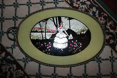 Antique Victorian Wicker & Glass Serving Tray-Woman Holding Umbrella-Wood Base