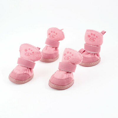 Pink Nonslip Sole Hook and Loop Fastener Booties Pet Dog Shoes Boots 2 Pair XS
