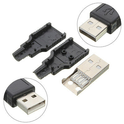 10 set USB 2.0 Type A Plug 4 Pin Male Adapter Connector Jack Plastic Cover DIY