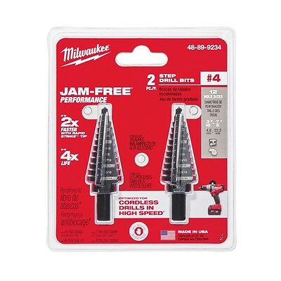 Milwaukee 48-89-9234 #4 Step Drill Bit 3/16 in - 7/8 in by 1/16 in 2 pk IN STOCK
