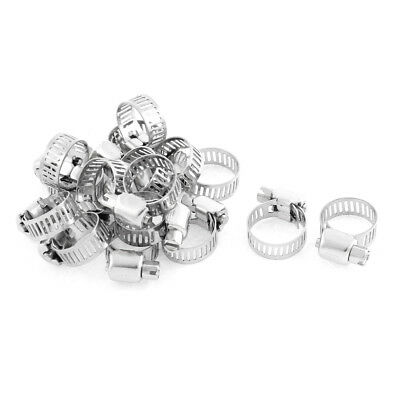 Adjustable 10mm-16mm Range Band Stainless Steel Worm Hose Clip Clamp 16 Pcs