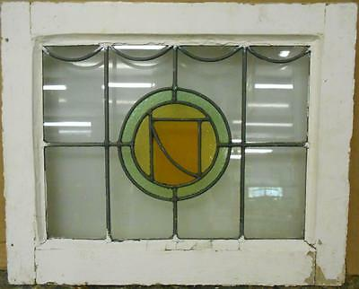 "OLD ENGLISH LEADED STAINED GLASS WINDOW Pretty Circular Design 20.75"" x 17"""