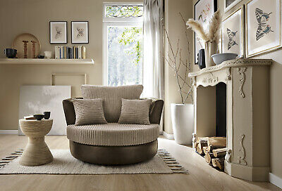 Dino Swivel Chair in Brown and Beige or Black and Grey