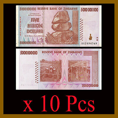 Zimbabwe 5 Billion Dollars x 10 Pcs, 2008 AA/AB Cir 50 & 100 Trillion Series