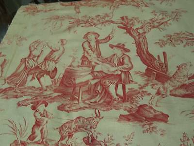 Gorgeous Antique French Toile de Jouy Fabric Pastoral Scenes Red Linen Copperpla