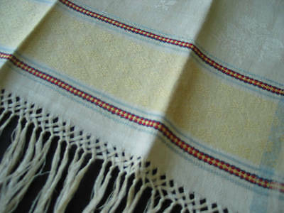 Gorgeous Hand Loomed Woven Linen Damask Antique Towel
