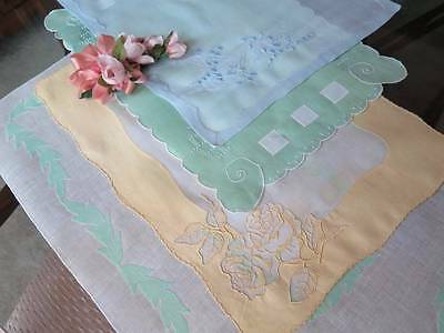 4 Pieces Vintage Madeira Pastel Colors Cotton Linen Organdy Embroidered Placemat