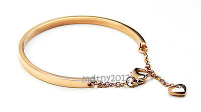 NEW! High Quality Rose Gold Crystal Love Heart Charm Stainless Steel Bracelet