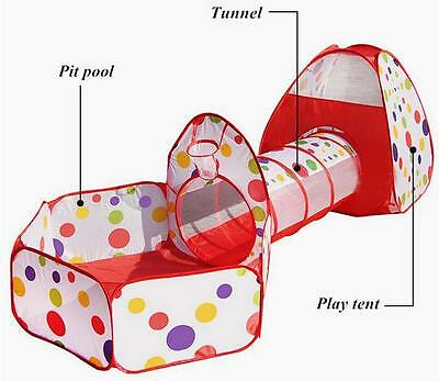 3 In 1 Kids Toddler Play Station Play House Tent Crawl Tunnel Pit Balls Pool