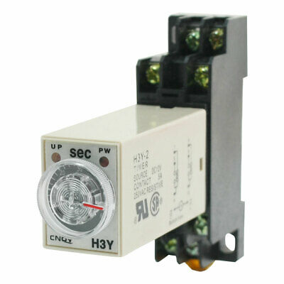 DC 12V 8 Pins DPDT H3Y-2 0-60 Seconds Delay Power On Timer Time Relay w Base