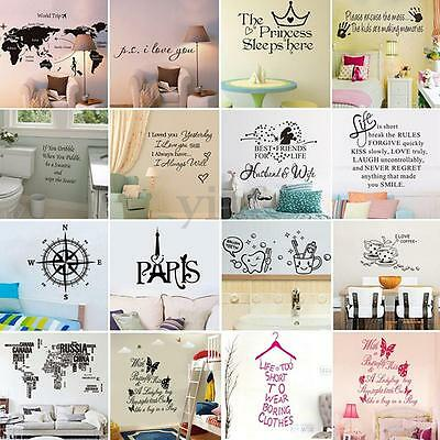 DIY Vinyl Quote Home Room Decor Art Wall Removable Stickers Bedroom Decal Mural