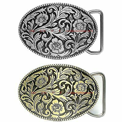 Hbum0028 Western Floral Flower Plain Rope Edge Cowboy Cowgirl Alloy Belt Buckle
