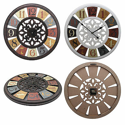 Shabby Chic Large 50cm Distressed Color Wheel Rustic Wall Clock Arabic Numerals